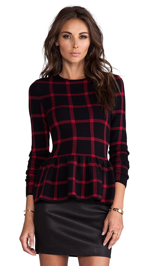 Natalie Casual Plaid Peplum Top