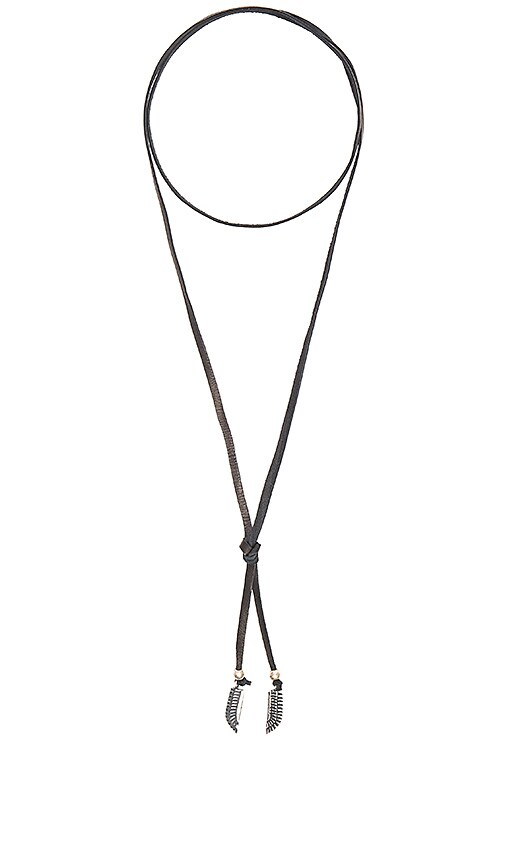 TORCHLIGHT Feather Lariat Necklace in Black