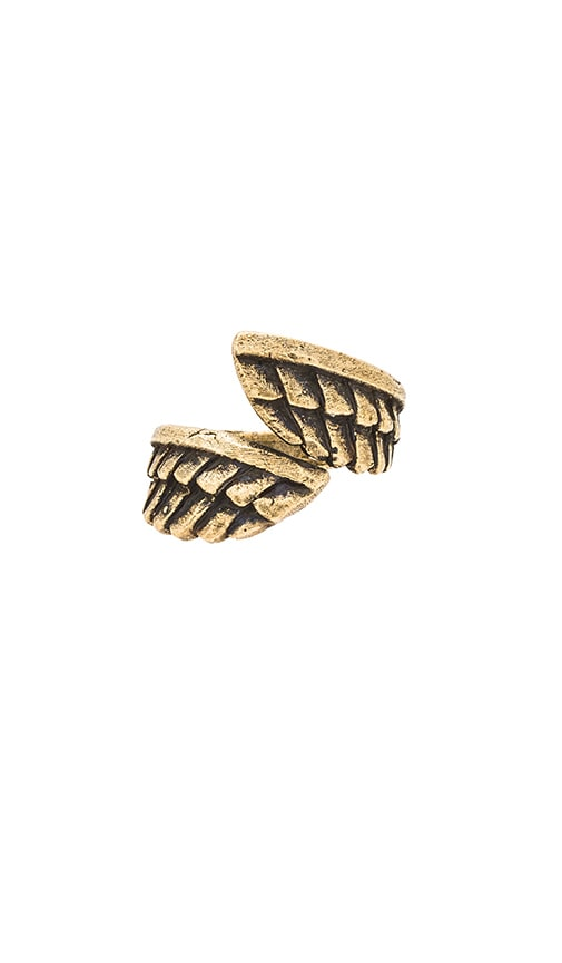 TORCHLIGHT Feather Wrap Ring in Brass Ox