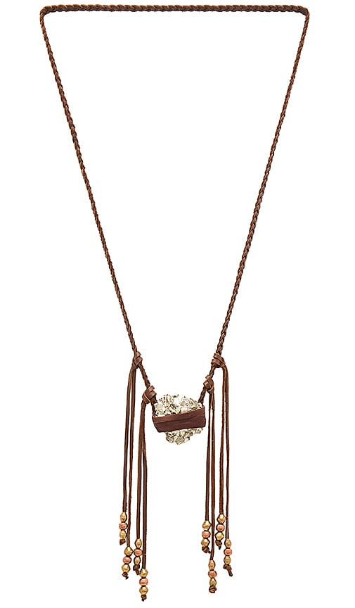 TORCHLIGHT Pyrite Vagabond Necklace in Brown Leather Pyrite