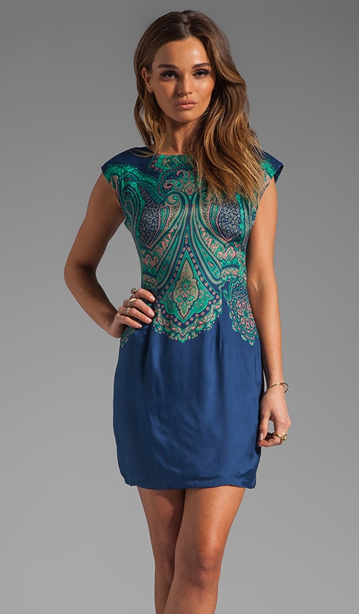 Wide Awake Foulard Placement V Back Shift Dress