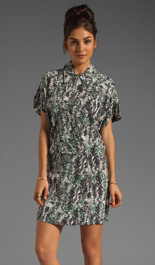 Leaves Silk Print Blouson Shirtdress