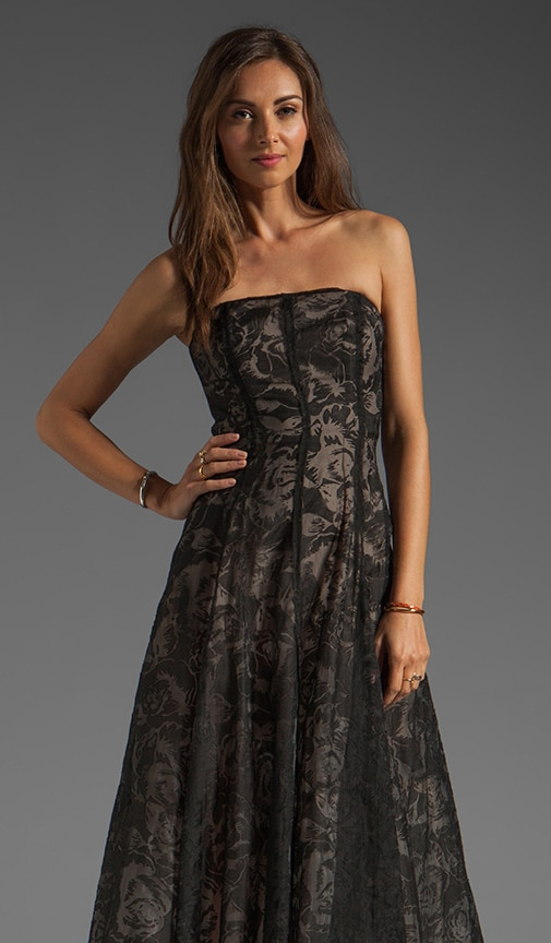 Burnout Floral w/ Gauze Deconstructed Strapless Dress