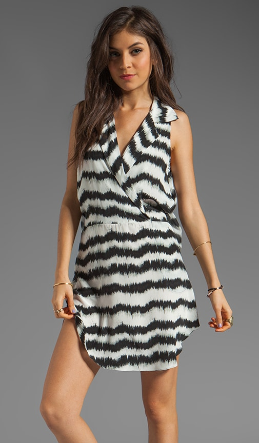 Ikat Silk Print Surplice Dress