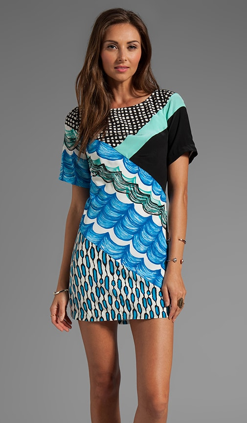 Silk Prints Spliced Shift Dress