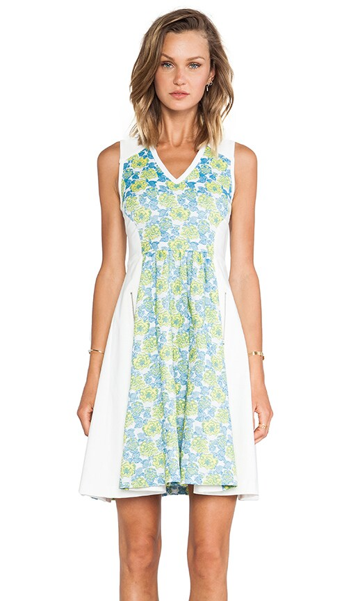 Floral Jacquard Neoprene Frock Dress