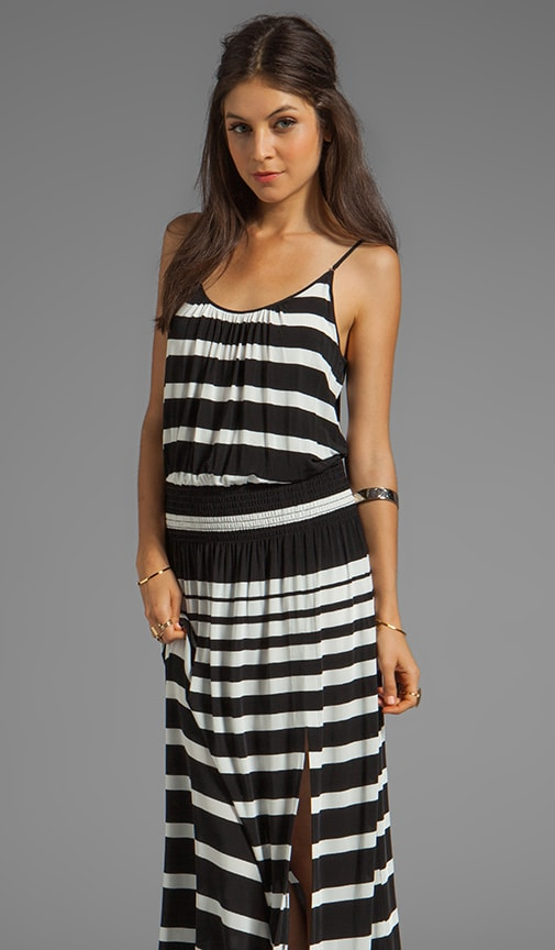 Striped Jersey High Slit Maxi Slip