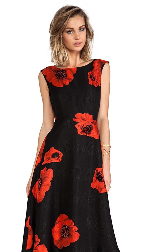 Scarlet Floral Embellished Flared Frock
