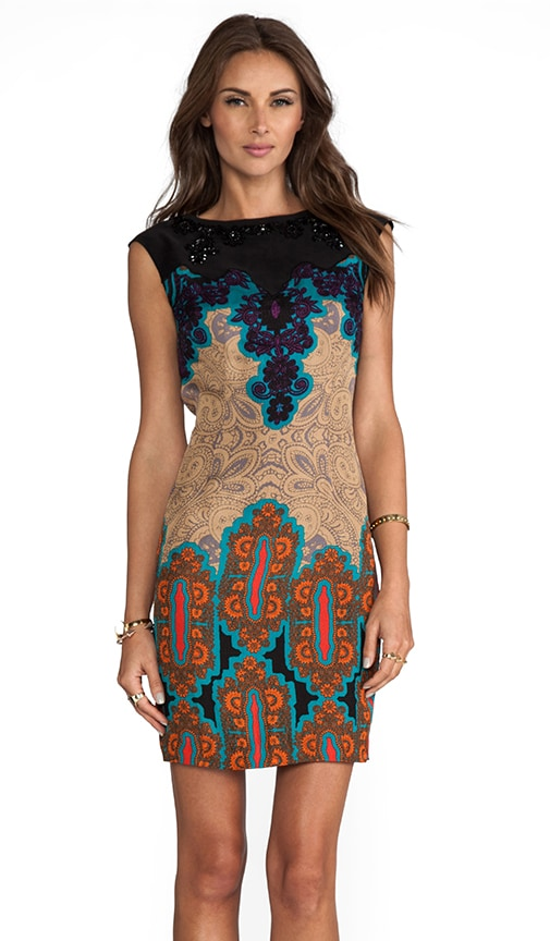 Medallion Sarasatic Print Placement Shift Dress