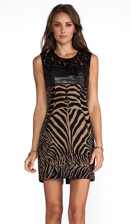 Zebra/Ocelot Stretch Jacquard Combo Shift With Leather Dress