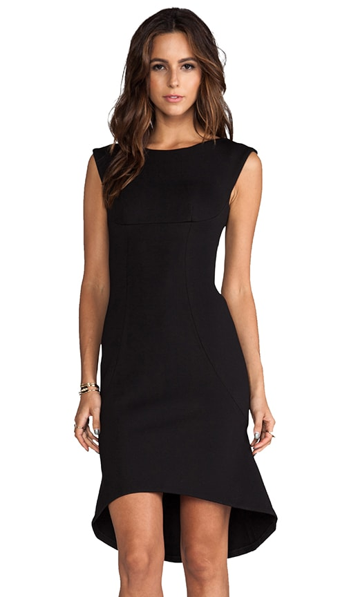Solid Neoprene High Low Shift Dress