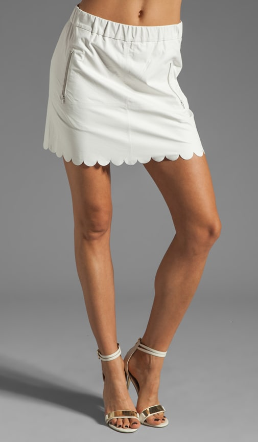 Lambskin Leather Pull-On Skirt