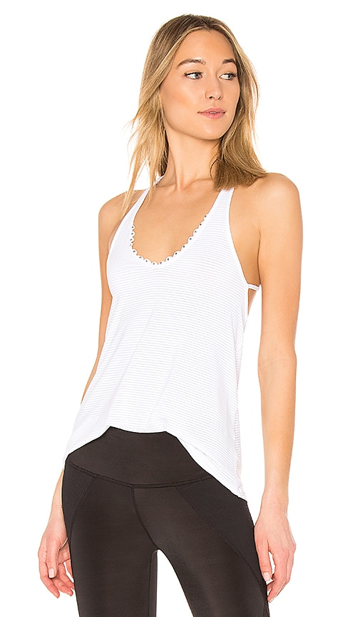 Track & Bliss Scalloped Studded Tank in White