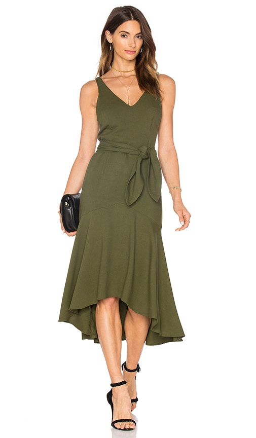 TRIYA Tie Waist Midi Dress in Green