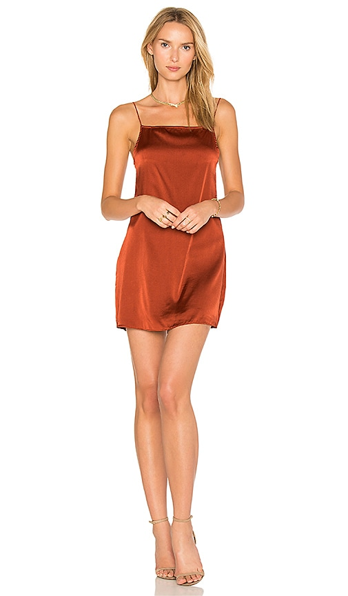 TROIS Claudia Silk Slip Dress in Orange