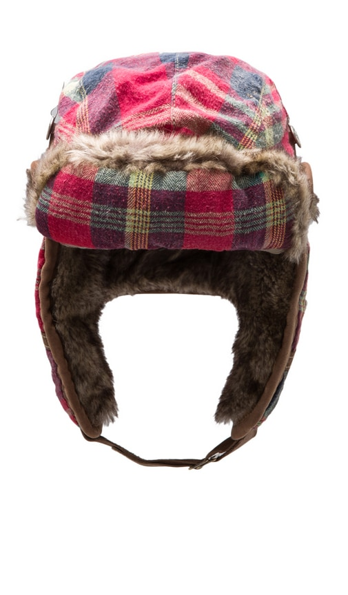 Plaid Flannel Trapper Faux Fur Hat