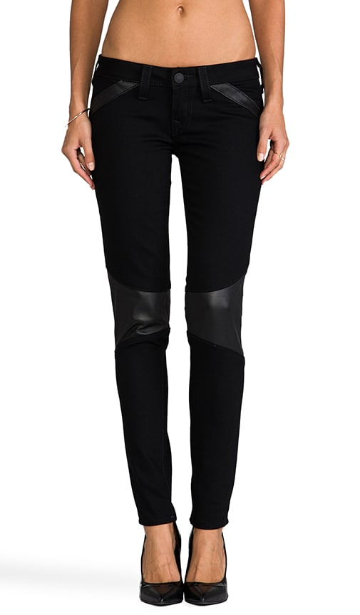 Moto Mid Rise Skinny with Leather Panels