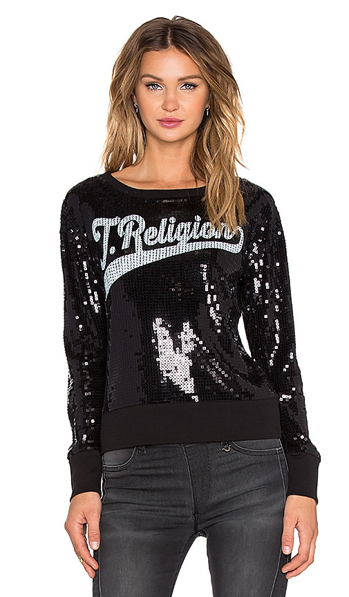True Religion Sequin Crew Sweatshirt in Jet