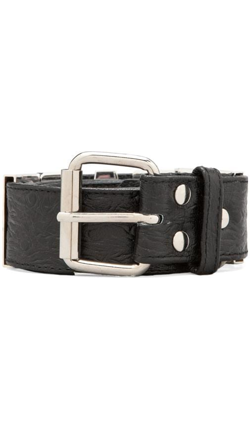 Ostrich Leather Rad Letter Belt