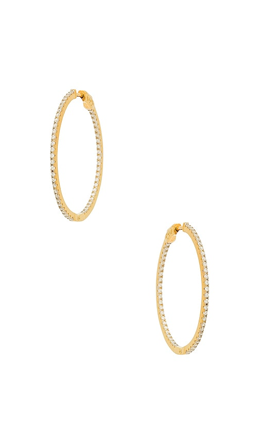 THE M JEWELERS NY THE THIN PAVE HOOPS