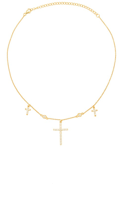 THE M JEWELERS NY The Dainty Cross Choker in Metallic Gold