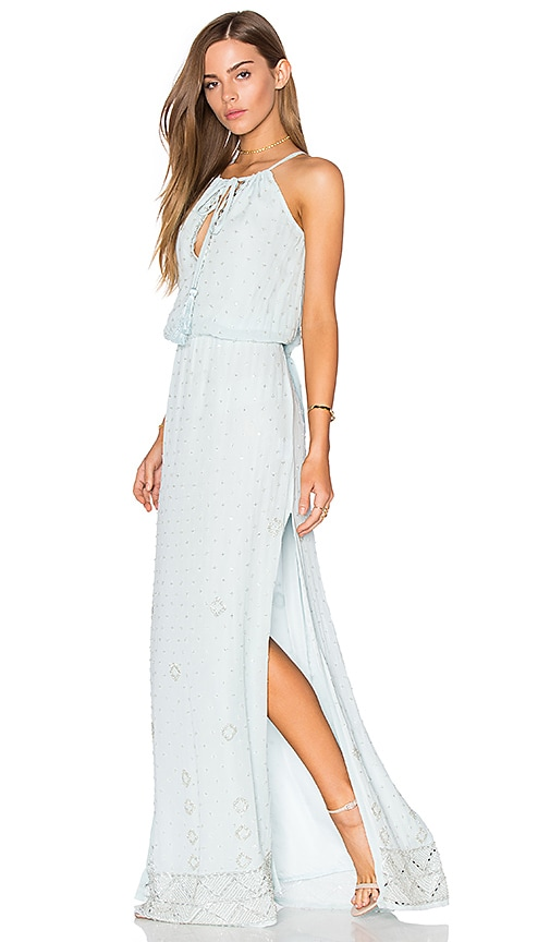 Tessora Cinched Maxi Dress in Blue