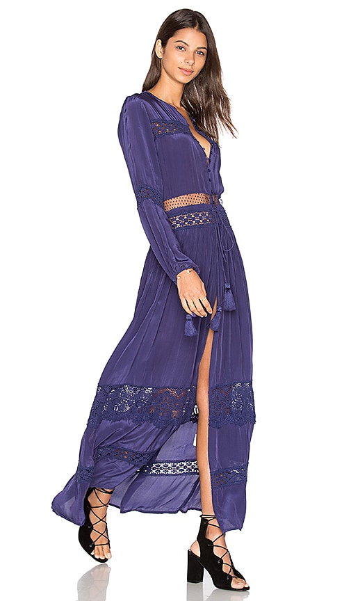 Tessora Cut Out Lace Maxi Dress in Navy