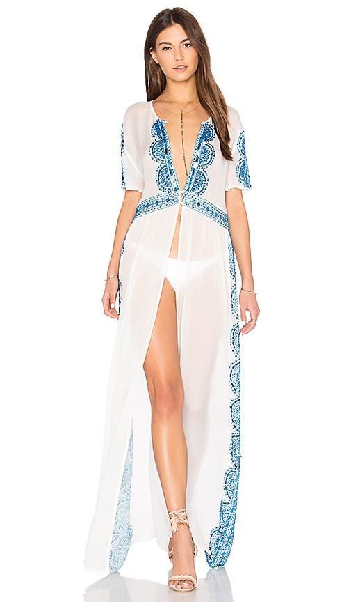Tessora Embroidered Maxi Dress in White