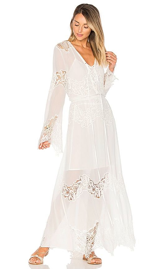Tessora Lace Up Maxi Dress in White