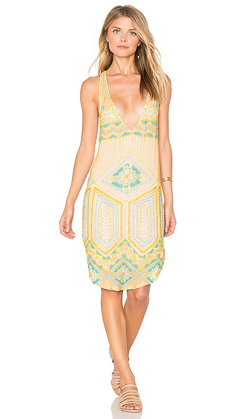 Tessora Beaded Cocktail Dress in Yellow
