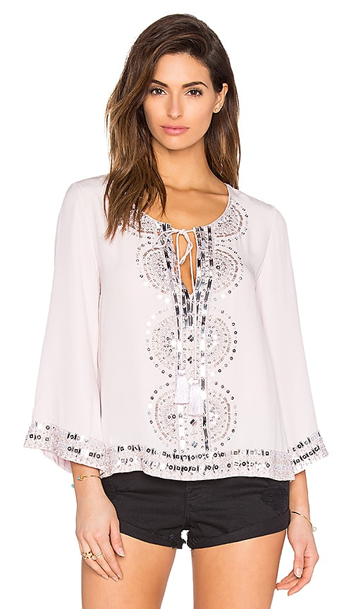 Tessora Embellished Tie Neck Blouse In Nude in Nude