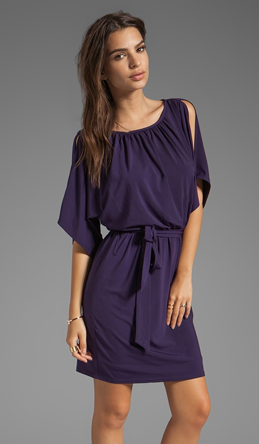 Matte Jersey Larkspur Cold Shoulder Dress