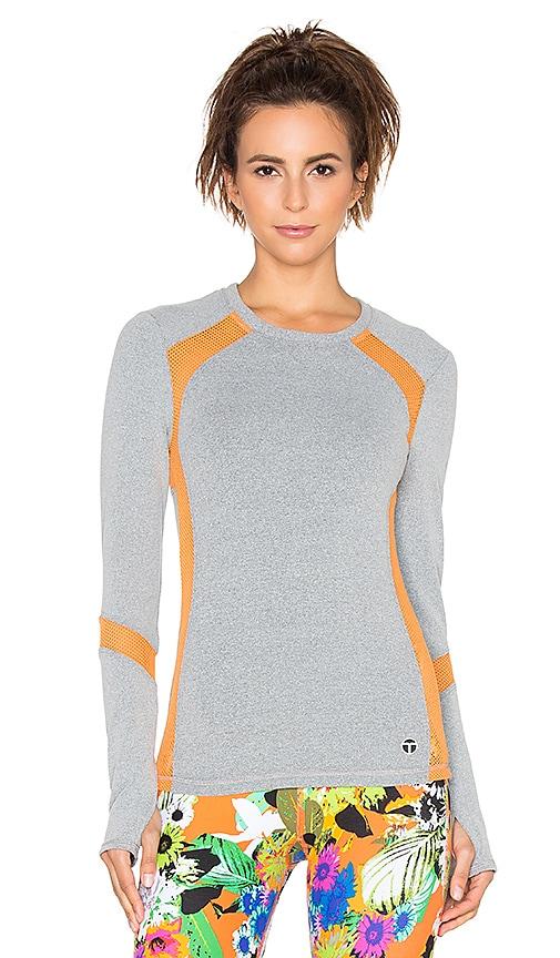 Trina Turk Heathered Mesh Solids Mesh Back Long Sleeve Top in Grey &Tangerine