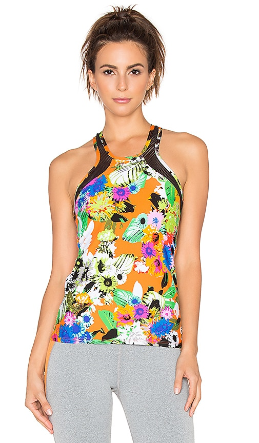 Trina Turk Pop Floral Mesh Back Tank in Orange