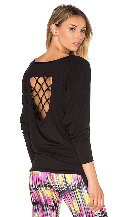 Trina Turk Knotted Jacquard Dolman Tee in Black