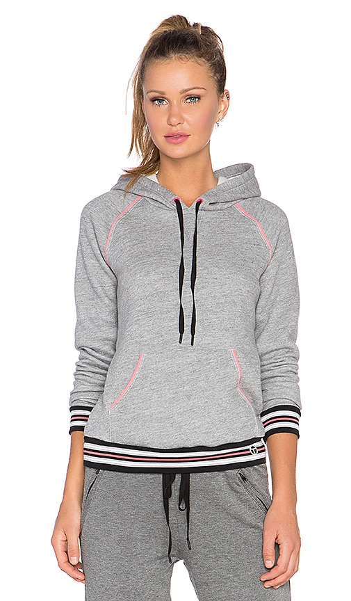 Trina Turk Fleece Hooded Sweatshirt in Grey