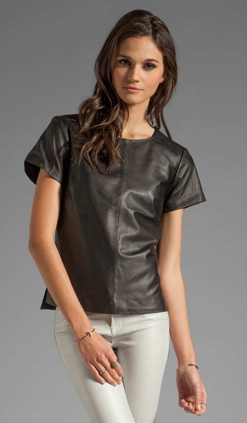 Drapey Leather Short Sleeve Top