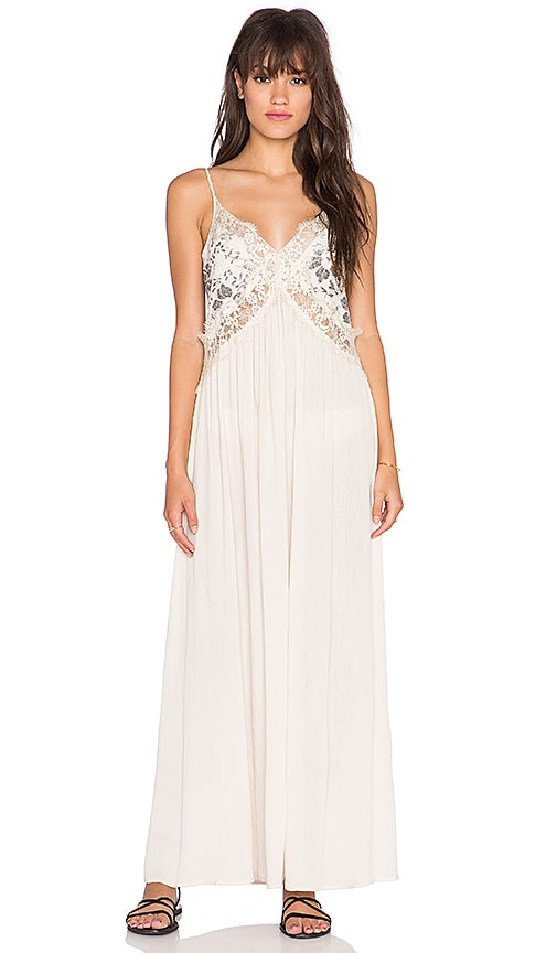 Tularosa Huntley Lace Maxi Dress in Black & Cream