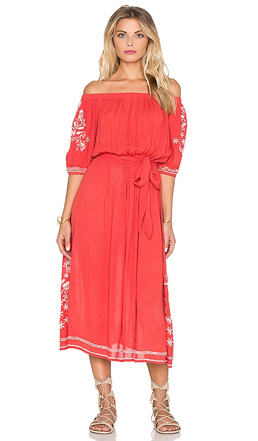 Tularosa Marty Midi Dress in Red