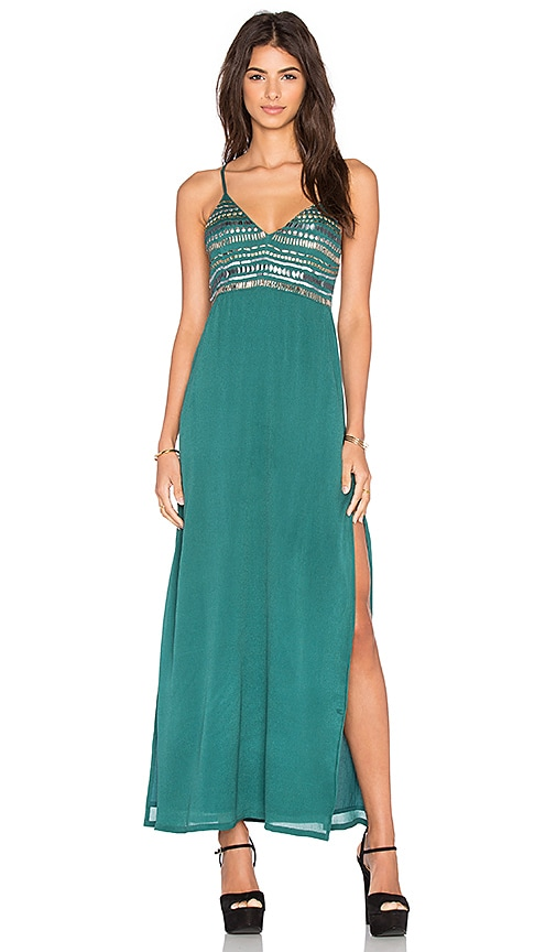 Tularosa Lena Plunge Maxi Dress in Green