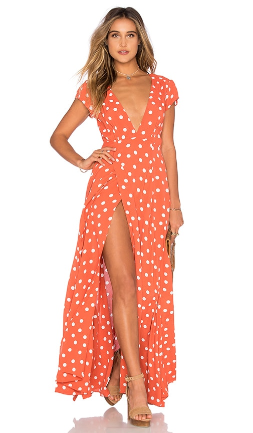 Tularosa Sid Wrap Dress in Coral