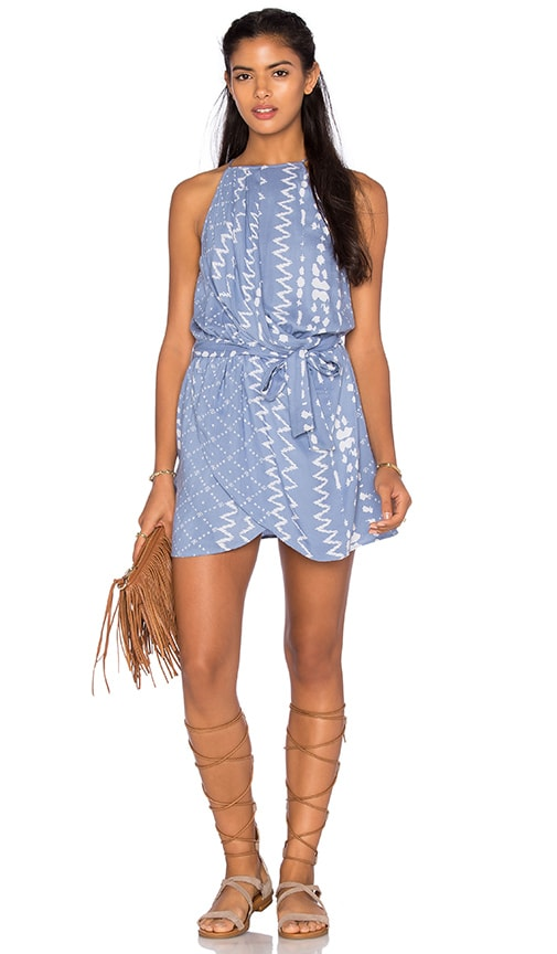Tularosa Dani Drape Halter Dress in Blue