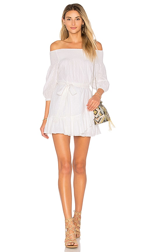 Tularosa Maida Ruffle Dress in White