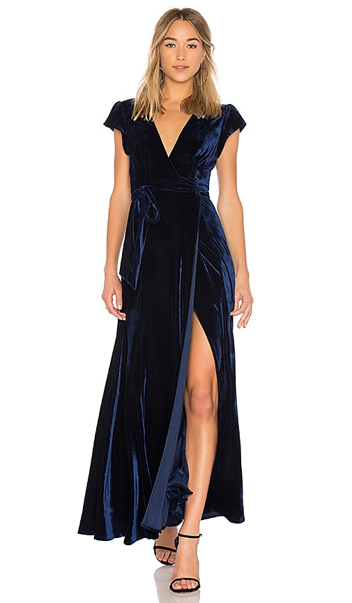 Velvet Wrap Dress in Midnight Blue | REVOLVE