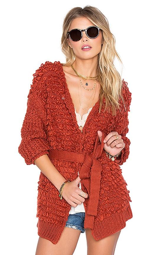 Tularosa Vaughn Wrap Sweater in Rust