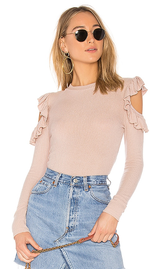 Tularosa Ruffle Cold Shoulder Sweater in Pink