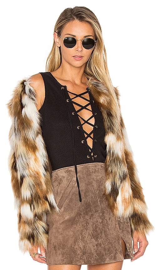 Tularosa x REVOLVE Averly Faux Fur Coat in Brown