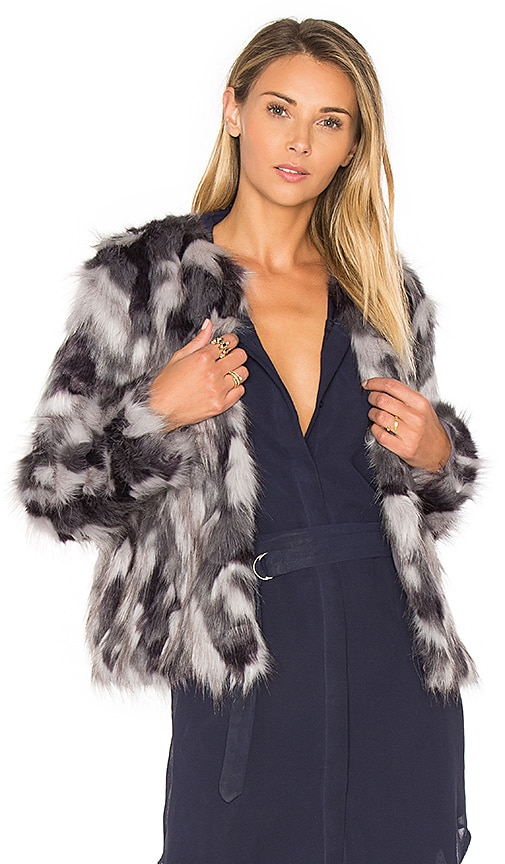Tularosa x REVOLVE Averly Faux Fur Coat on Grey & Black