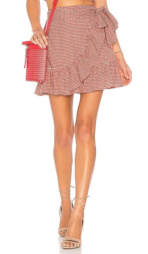 Tularosa Maida Ruffle Skirt in Red