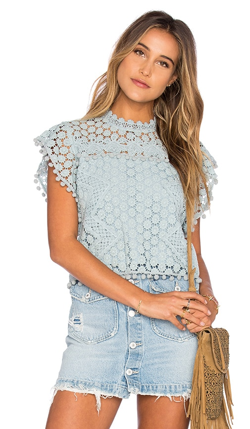 Tularosa Clayton Lace Top in Blue